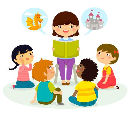 Femme lisant un livre pour les jeunes enfants Banque d'images - 69256712
