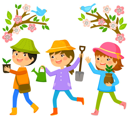 three kids going to plant trees on Tu Bishvat