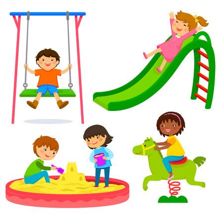 zestaw dzieci bawiących się na placu zabaw