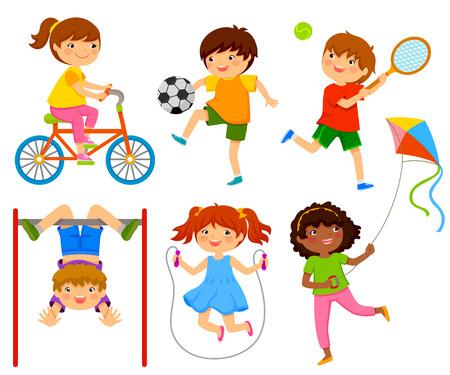 野外で遊ぶアクティブな子供  イラスト・ベクター素材