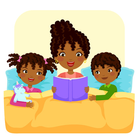 dark skinned woman reading bedtime story to children