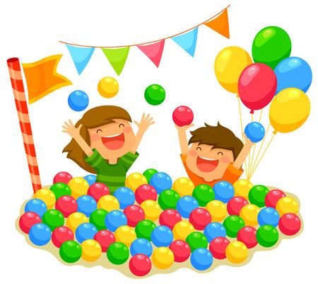twee kinderen spelen in een ballenbak met een feestelijke sfeer Stock Illustratie