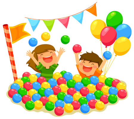 two kids playing in a ball pit with a festive atmosphere Çizim