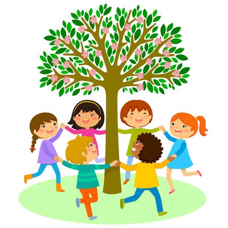 kinderen dansen in een cirkel rond een boom