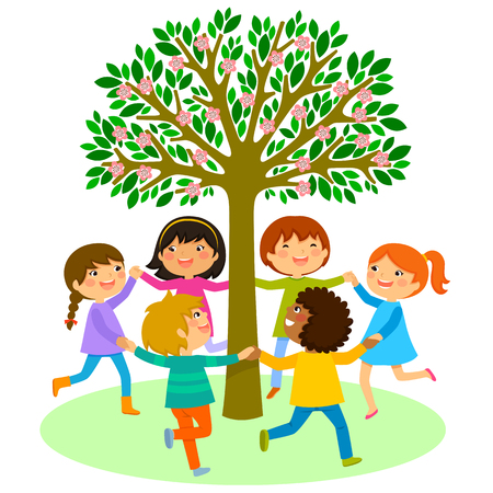 kids dancing in a circle around a tree