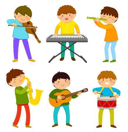 Set kinderen spelen muziekinstrument Stock Illustratie