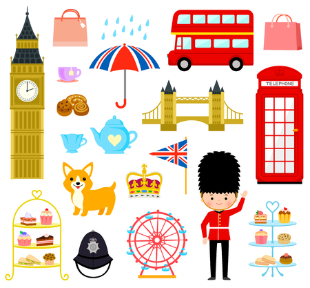 wheel guard: set of cute cartoons related to London and England