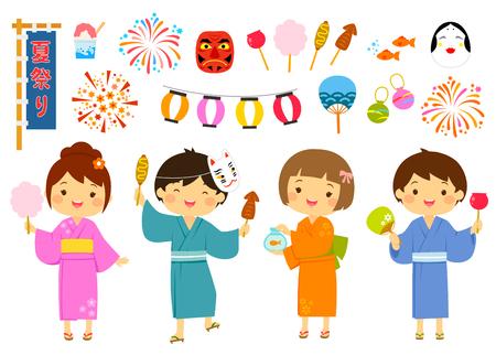 귀여운 어린이와 관련 상품으로 일본에서 열리는 여름 축제로 설정됩니다. 일러스트
