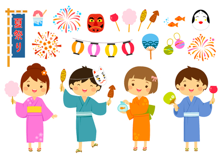 Set for summer festival in Japan with cute kids and related items. Vectores