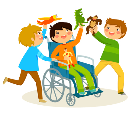 彼の友達と遊んで車椅子の少年  イラスト・ベクター素材