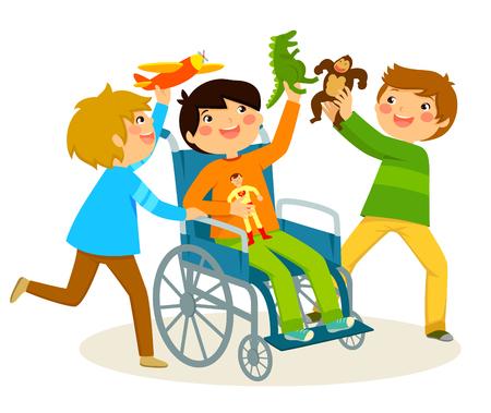 Junge im Rollstuhl mit seinen Freunden spielen Standard-Bild - 77698421