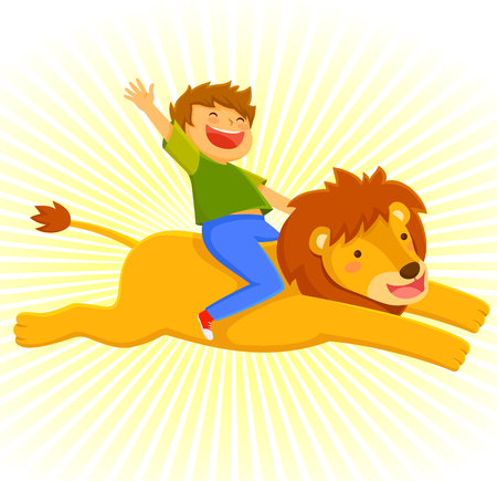 happy courageous boy riding on a lion Illustration