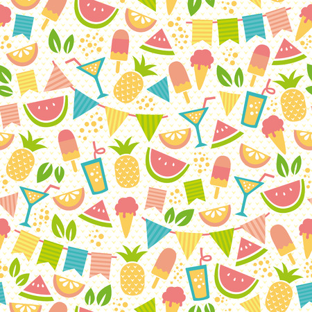 blue green background: seamless pattern for summer with ice creams and fruit Illustration