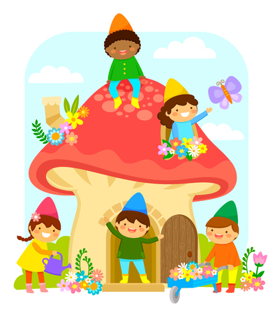Little dwarfs playing and working in a mushroom house Illustration