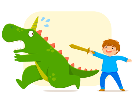Little boy with a wooden sword defeating a monster Ilustrace