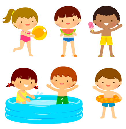 running: Young kids in swimsuits playing at the beach or at the pool