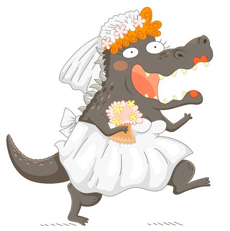 monstrous: Funny bridezilla – monstrous bride smiling enthusiastically
