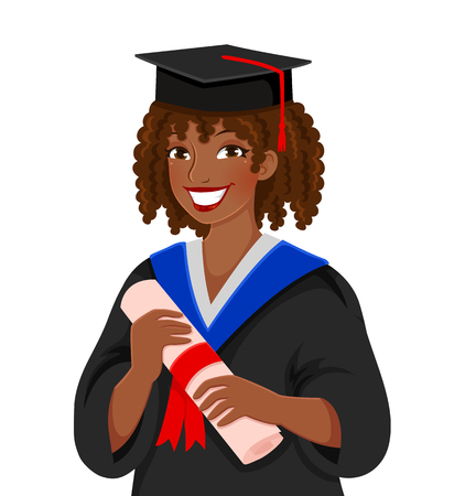 young colored skinned woman graduating college