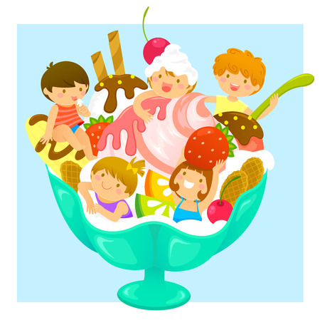 happy kids in a cup of ice cream with fruit Illustration