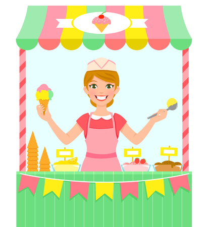 A happy young woman selling ice cream in a stall. Illustration