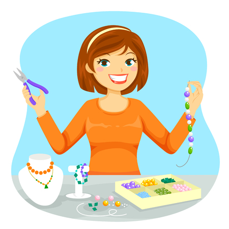 Young woman making jewelry from beads Imagens - 82878118