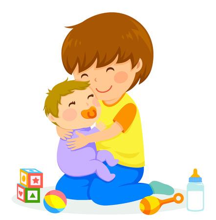 아기를 안고있는 어린 소년