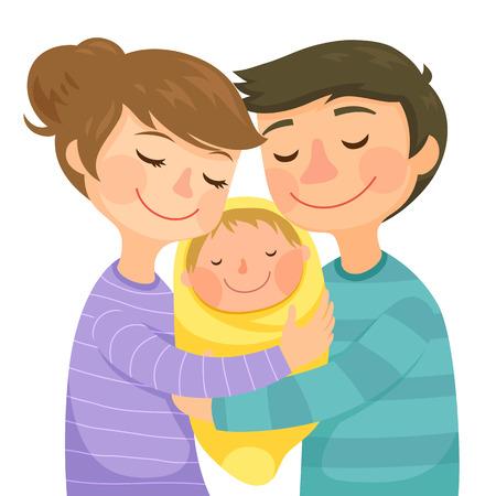 Felici giovani genitori che abbracciano un piccolo bambino