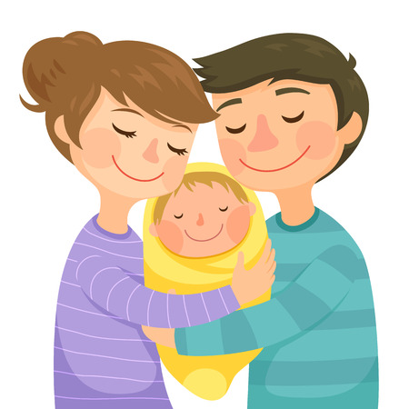 Happy young parents hugging a small baby Ilustração