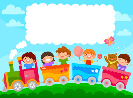 Kids in a colorful train with space for text Stock Illustratie
