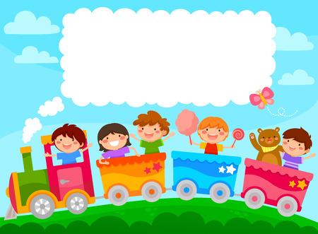 Niños en un tren colorido con espacio para texto