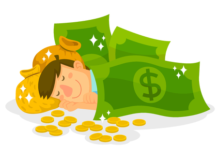 man sleeping with dollar bills, money bags and coins Illustration