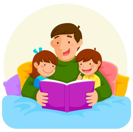 침대에서 아이들에게 책을 읽는 젊은 아버지 일러스트