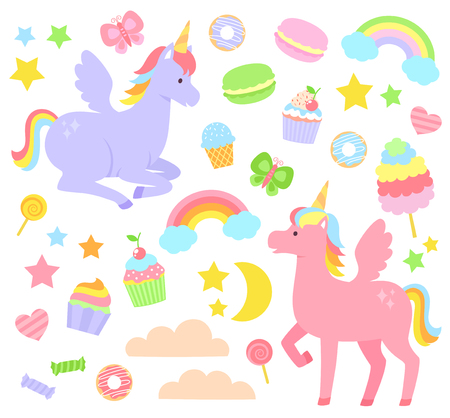 Set of unicorns, rainbows, cupcakes and other cute items Vectores