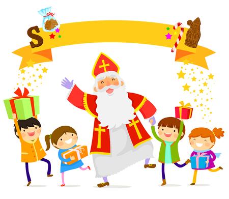 행복 한 어린이들과 함께 춤을 추는 Sinterklaas 일러스트
