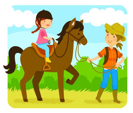 インストラクターと一緒に馬に乗る少女