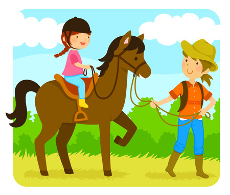Little girl riding a horse with an instructor Illustration