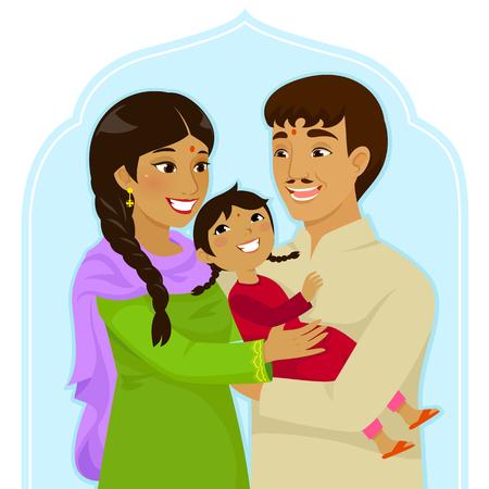母と小さな女の子を抱いて父のインド家族  イラスト・ベクター素材
