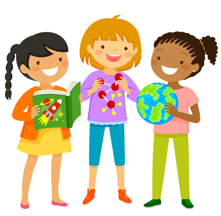 Curious girls learning about scientific subjects