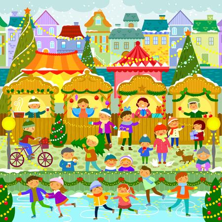 ヨーロッパ町ベクトル イラストのカラフルなクリスマス ・ マーケット