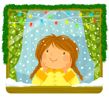Little girl looking at the snow through a window with Christmas lights and decoration Illustration