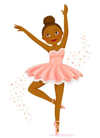 Cute dark skinned ballerina dancing.