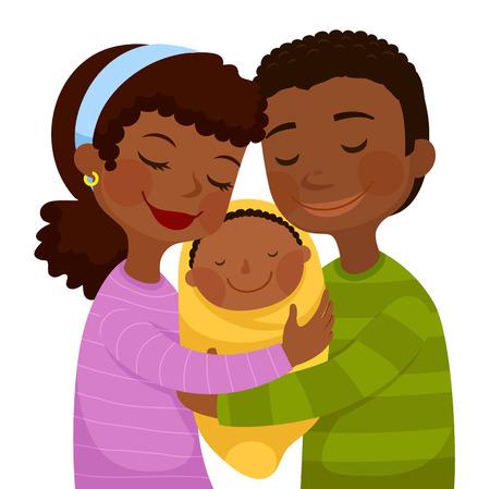 Glückliche dunkelhäutige Eltern, die ein kleines Baby umarmen Standard-Bild - 93007320