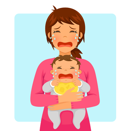Young mother crying while holding her crying baby 向量圖像