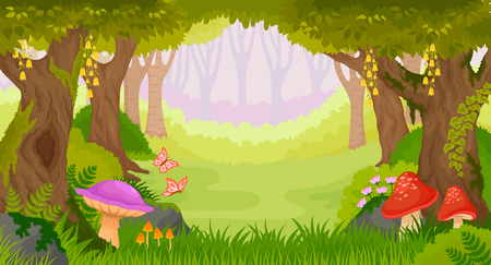 Bright fairy tale forest with copy space. Illustration