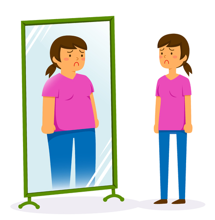 Unhappy woman looking in the mirror and seeing a fat image of herself Çizim
