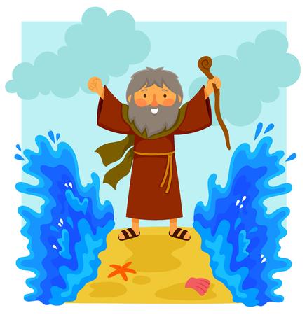 Ilustracja kreskówka szczęśliwy Mojżesz rozdziela Morze Czerwone w biblijnej historii.