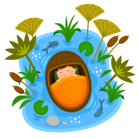 Biblical scene of baby Moses sleeping peacefully in the ark while floating on the Nile River Ilustração