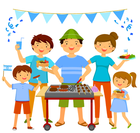 Happy people having a traditional barbecue on Israel's Independence Day  イラスト・ベクター素材