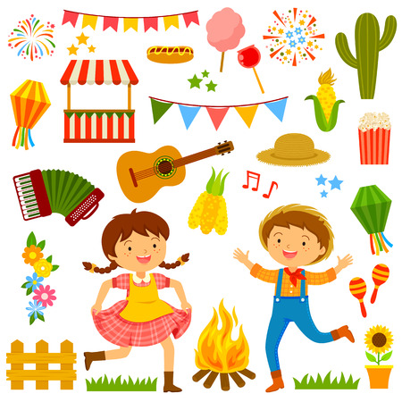 Set of cartoons for a feast with dancing kids and related items.  イラスト・ベクター素材