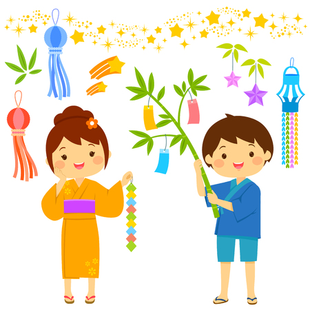 Tanabata Star Festival in Japan. Cartoon kids and icons drawn in cute style.